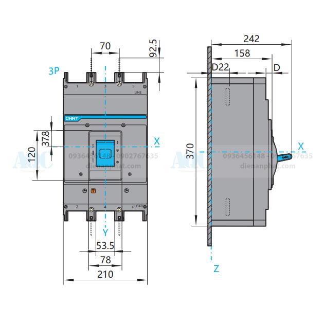 Kích thước mccb 3P 1250a