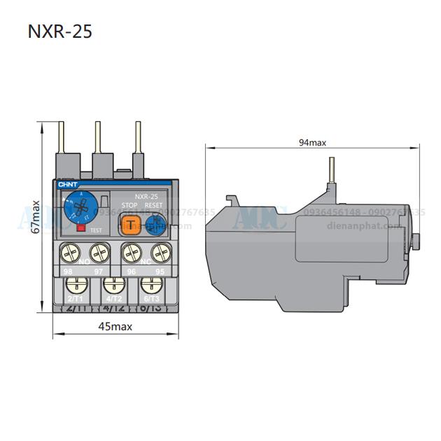 kích thước rờ le nhiệt nxr-25 chint